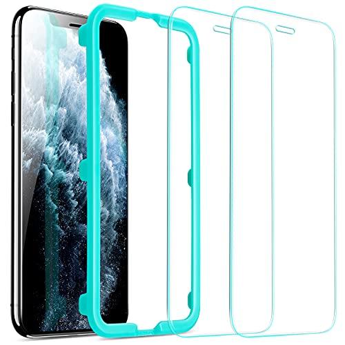 ESR Schutzfolie kompatibel mit iPhone 11 Pro Max/iPhone XS Max [2 Stück] [Face-ID kompatibel] [Hüllenfre&lich]-Hochwertiger Panzerglas Bildschirmschutz mit Montagerahmen für iPhone 6,5 Zoll