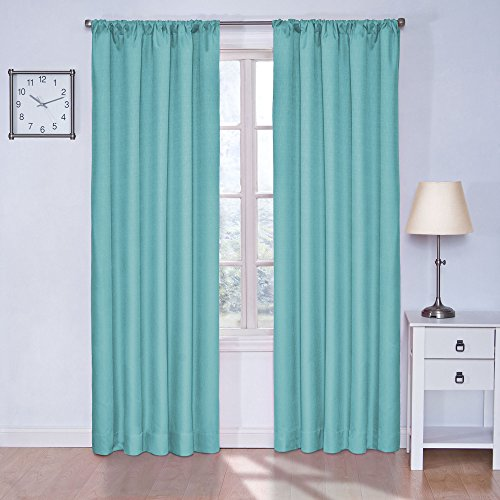 """ECLIPSE Kendall Thermal Insulated Single Panel Rod Pocket Darkening Curtains for Living Room, 42"""" x 84"""", Turquoise"""