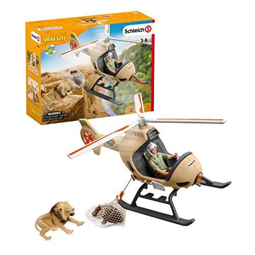 Schleich 42476 Wild Life play set - rescate de animales en helicóptero, juguetes a partir de 3 años