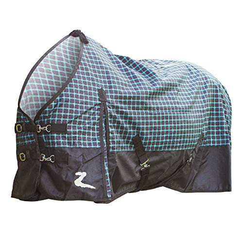 FILLBOSS GOODGROWLIES Horze Nevada 1200D Turnout Sheet, Purple Teal Black Plaid/Black, 78