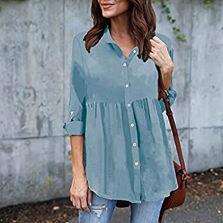 Leepesx Women Plus Size Chiffon Blouse Solid Turn Down Collar Long Sleeve Buttons Pleated Loose Casual Shirt