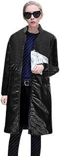 Women Fashion Warm Splicing Wool Stand Up Collar Real Coat Parka Outwear