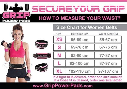 Grip Power Pro, Hubgürtel für Frauen, schwarzer und rosa Gewichthebenhilfsgürtel – 5″ breite – 3 Längengrößen, Gummiruck für leichte Entfernung, modische Tauglichkeitsausrüstung & Ausübungszubehöre (Rosa, Small) - 3