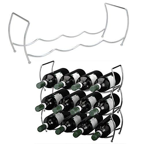 LS-LebenStil 3-Fach Wein-Regal Flaschenständer Silber Metall Wein-Flaschenregal