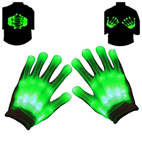 Light Up LED Skeleton Hand Gloves Halloween Toy – Autbye (2021 Enhanced Edition) Novelty Christmas Gift for Kids Masquerade Cosplay Festival Party Prop Scary Costume (Green Light)