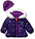 LONDON FOG Girls Quilted Puffer Jacket with Fleece Hat, Purple Gem Toddler, 2T