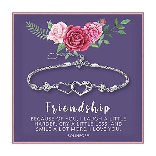 SOLINFOR Friendship Bracelet - Two Interlocking Hearts Sterling Silver Bracelet - BFF Friends Friendship Birthday Jewelry Gift Idea for Women