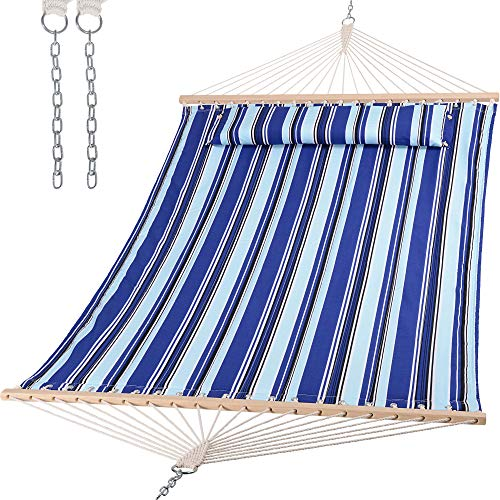 SUNCREAT Hammocks Quilted Fabric Hammock, Double Hammock with Spreader Bar, Soft Pillow, Max 475lbs Capacity, Blue Stripes