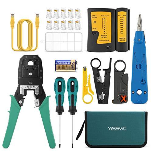 YISSVIC Comprobador de Cable de Red Kit de Herramientas de Reparación de Red para Mantener los Ordenadores 13 en 1