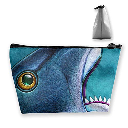 Bolsa de Maquillaje de Pintura de tiburón prehistórico, Bolsa de Viaje de Almacenamiento Trapezoidal Grande, Bolsa de cosméticos para Lavar, portalápices, Cremallera Impermeable
