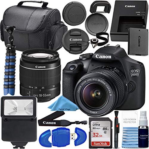 Canon EOS 2000D / Rebel T7 DSLR Camera w/ 18-55mm F/3.5-5.6 III Lens + SanDisk 32GB SD Card + Flash + More