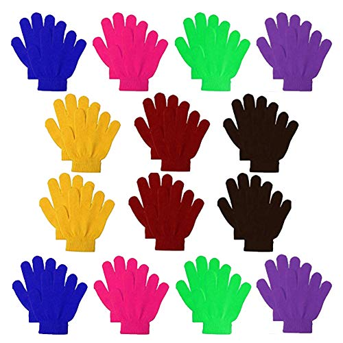 14 Pairs Kids Warm Magic Gloves,Teens Winter Stretchy Knit Gloves Boys...
