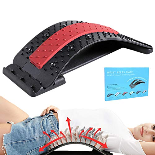 Back Stretcher for Pain Relief, Back Massage Support Arch with Magnetic Acupressure Points, Multi-Level Lumbar Support Back Hero, Lower and Upper Back Pain Relief Mate(Black/Red)