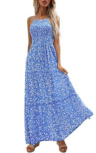 Zattcas Maxi Dresses for Women Summer Floral Beach Boho Long Party Maxi Dress Blue M