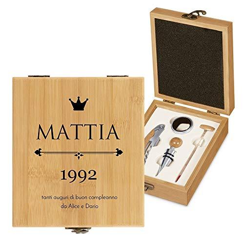 MURRANO Set Cavatappi da Vino - Kit da Sommelier Degustazione Perfetta Personalizzato - Scatola in legno di bambù + 4 pezzi di Accessori Vino - regalo uomo - Auguri