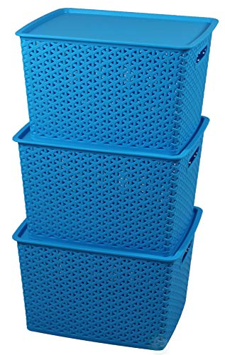 Basicwise QI003214.3 Plastic Blue Storage Container Box with Lid (Set of 3), Large, 3 Set