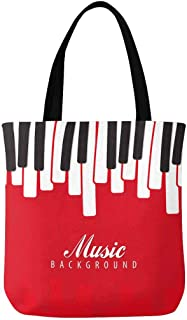 InterestPrint Custom Music Piano Keyboard Canvas Tote Bag Handbag Reusable Casual Bookbag Work Travel Shopping Bag