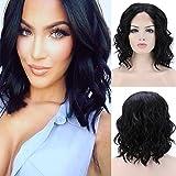 Elailite Lace Front Wig Parrucca Donna Nera Corta Ondulata Posticci Capelli Mossi RIcci Sintetici Loose Body Wave