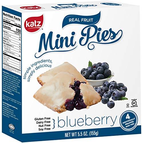 Katz Gluten Free Blueberry Mini Pies | Dairy Free, Nut Free, Soy Free, Gluten Free | Kosher (1 Pack of 4 Mini Pies, 5.5 Ounce)