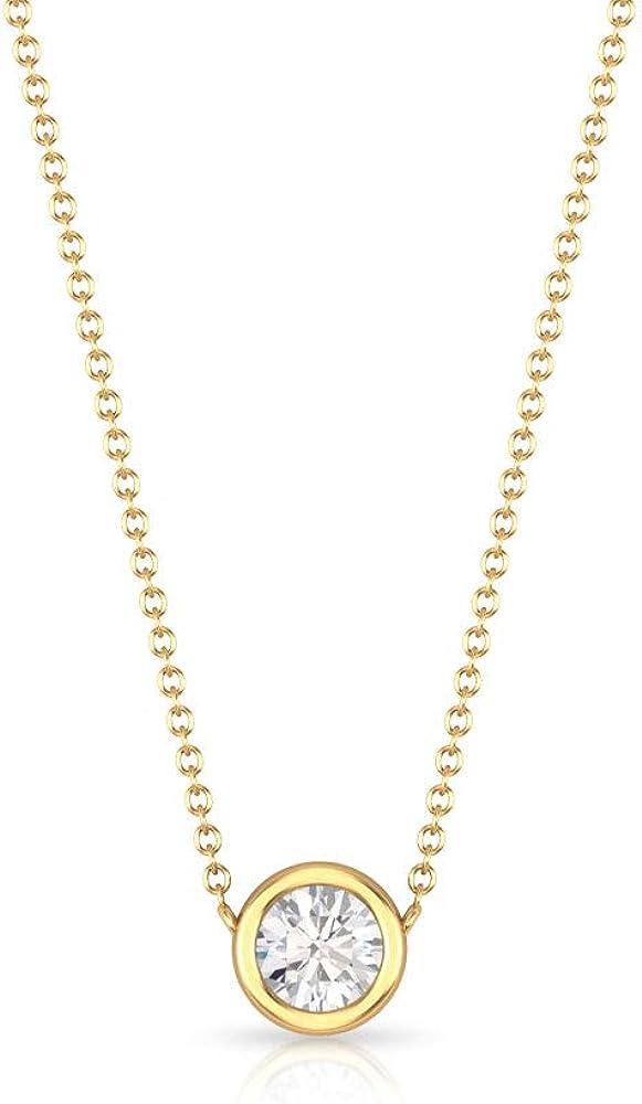 Rosec Jewels - 1/4 CT HI-SI Solitaire Diamond Pendant, Minimalist Pendant Necklace, Gold Chain Necklace