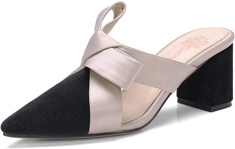 U-lite Women's Suede Upper Satin-Bowknot Decoration Mule shoes 3 cm Heel  6 cm Heel