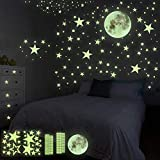 HOSPAOP Leuchtsticker Wandtattoo, 435 Stück Leuchtsterne Selbstklebend Punkten und Mond Sternenhimmel Aufkleber für Schlafzimmer Jungen Mädchen Kinderzimmer
