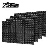 Little-Lucky Acoustic Foam Panels,SoundProof Padding Foam Panels,2' X 12' X 12' Studio Foam Pyramid Tiles Sound Absorbing Dampening Foam Treatment Wall Panels -12Pack (24Pack, Black)
