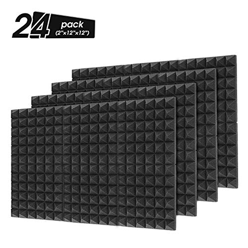 "Little-Lucky Acoustic Foam Panels,SoundProof Padding Foam Panels,2"" X 12"" X 12"" Studio Foam Pyramid Tiles Sound Absorbing Dampening Foam Treatment Wall Panels -12Pack (24Pack, Black)"
