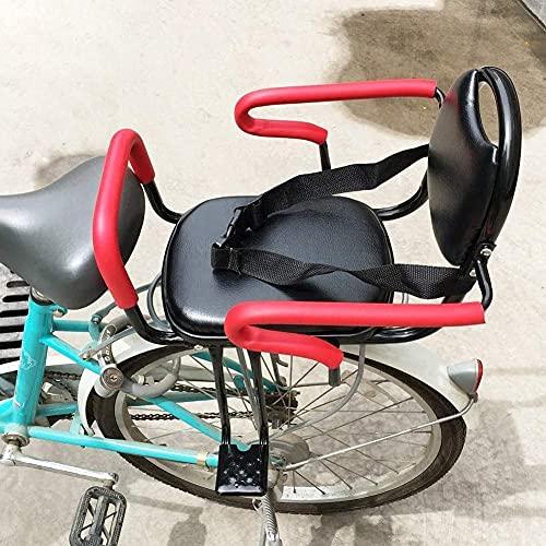 Bicicleta para niños Bicicleta Asiento trasero para niños Silla de seguridad de seguridad para bebés con mango de cerca y soporte de pedal Respalto de descanso fácil de instalar para niños 2-8 años ac