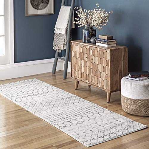 "nuLOOM Moroccan Blythe Runner Rug, 2' 8"" x 8', Grey/Off-white"