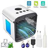 Nifogo Aire Acondicionado Portátil Ventilador Pequeño, Air Cooler Enfriador de Air Móvil Personal y portátil, 7 Luces LED, 3 Velocidades, para el Hogar y la Oficina