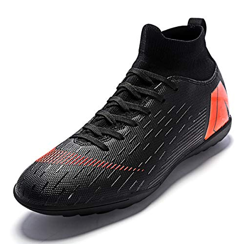 HGX Soccer Boots Shoes for Big Boy - Messi Turf Indoor Youth Football Shoes - High Top Ankle Boots Colorful Ribbon for Men - Outdoor Training TF/AG Black, 9