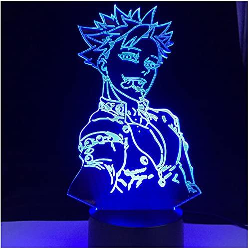 WDDZSD Ban Anime Lámpara Siete Pecados Capitales Láser Led Grabado Acrílico Iluminación Ascendente Ilusión 3D Lámpara De Noche Sensor Led Luz Decoración Regalo