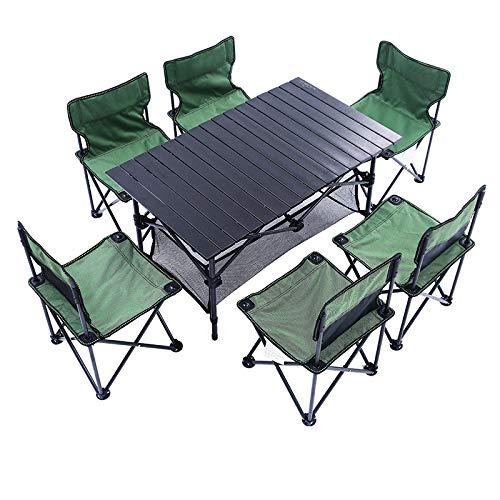 Ytrew Mesa y sillas de camping plegable portátil y plegable, todo en uno, mesa de picnic y playa, mesa ligera con 6 asientos para barbacoa, fiesta, comedor, patio, jardín