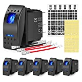 Nilight 6PCS 5PIN SPST Rocker Switches with 6 Sets Jumper Wires Set 20A/12V 10A/24V On/Off Toggle Switches with Night Glow Sticker for Trucks Boats Auto Motorcycles,2 Years Warranty (90131F)