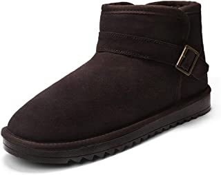 Yi-xir classic design Ankle Boots for Men Snow Catton Booties Pull on Suede Sole Bout Toe Substantial Color Stitch Non-sli...