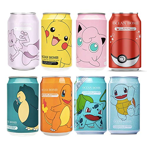 YHB Ocean Bomb Pokemon Character Natural Deep Sea Sparkling Water Assorted Flavour (8 Cans)