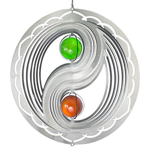 CIM Mobile en Acier Inoxydable - Orbit Yin Yang 300 Frame - Ø 30 cm - Bille colorée 2X Ø 5 cm - Inclus Fil en Nylon, Crochet et émerillon à roulement à Billes