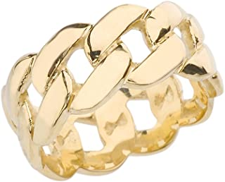 10k Gracious Yellow Gold 10 mm Unisex Cuban Link Chain Eternity Band Ring (Size 11)
