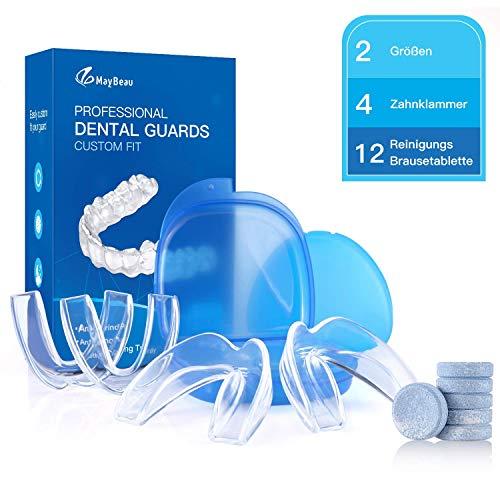 MayBeau Aufbissschiene 4 x Neuartige Knirscherschiene Zahnschiene mit 12 Reinigungs Brausetablette gegen Zähneknirschen Zähne - Zahnschutz Beissschiene