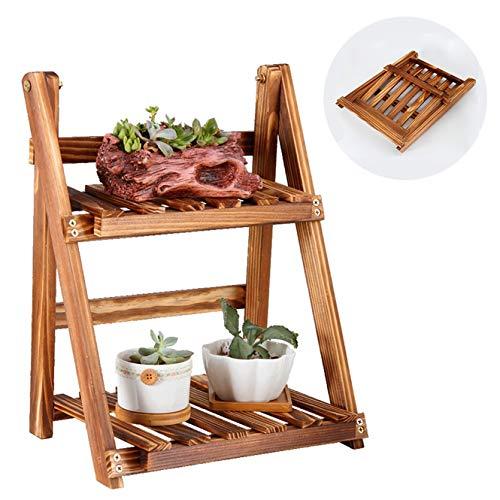 Support De Plante En Bois De Décoration De Table De Pliage De Fleur En Bois Pour Le Balcon Intérieur De Pelouse De Jardin De Pelouse, 2 Rangées, Mini