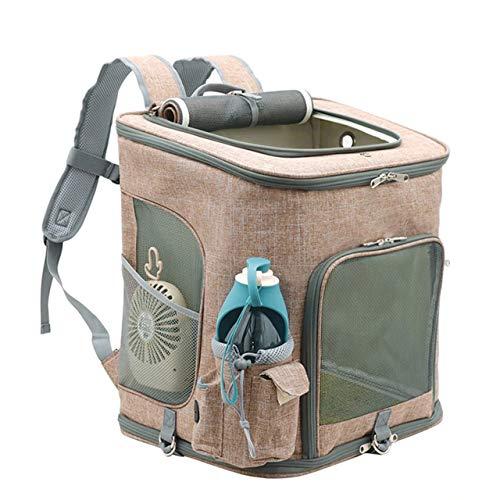 Mochila para gatos, para viajes, con ventilación transparente, para senderismo, uso al aire libre, bolsa de viaje ajustable para gatos, cachorros y pájaros, color marrón, grande