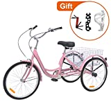 Barbella 26 Inch Adult Tricycle Three-Wheeled Bicycle with Metal Wire Shopping Basket Beach Cruiser for Recreation, Shopping,Exercise Men's Women's Bike (Light Pink, 7 Speed)