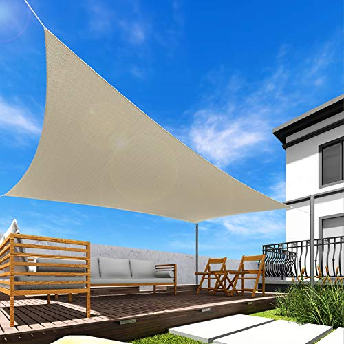 Windscreen4less 16' x 20' Sun Shade Sail Rectangle Canopy in Beige with Commercial Grade Customized