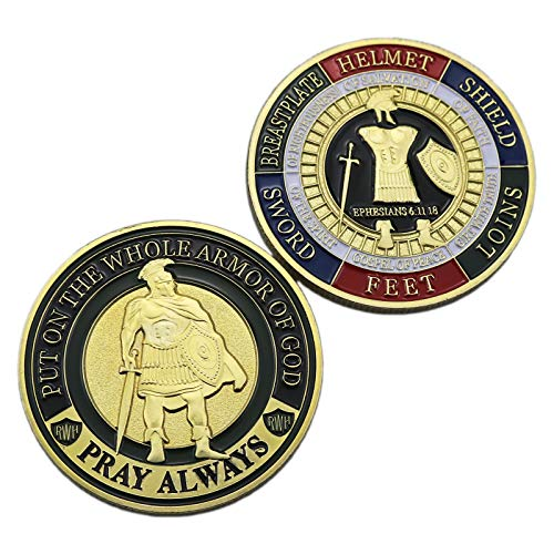 HillSpring 2 Pieces Put On The Whole Armor of God Challenge Coins (Ephesians 6:11-18)