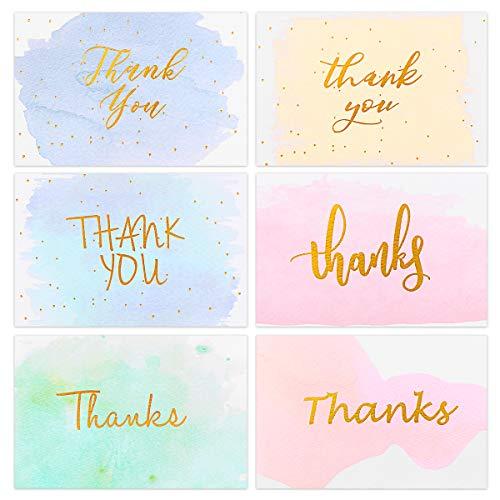 Partykindom Dankeskarten, Goldfolie, Aquarell-Grußkarten für Hochzeit, Brautparty, Babyparty, Weihnachten, Business, 6 Designs