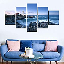 Seascape Artwork for Home Walls Portland Head Lighthouse Paintings Maine Coastline Picture for Living Room 5 Piece Modern Prints Wall Art on Canvas Framed Gallery-Wrapped Ready to Hang(60''Wx32''H)