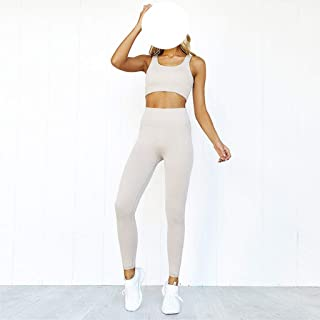 WZHZJ Women's Seamless Yoga Set Sports Bra and Leggings Fitness Pants Gym Running Suit Exercise Athletic Clothes (Color : ...