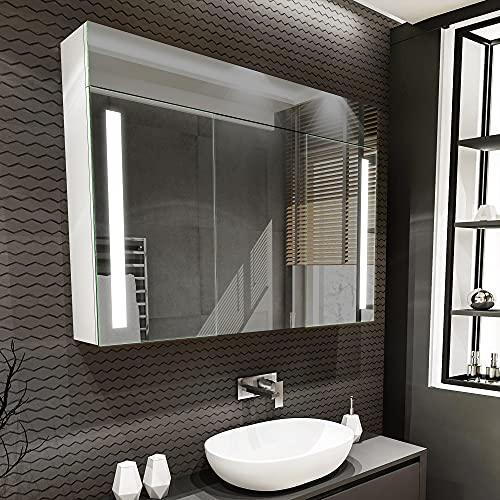 Artforma Spiegelschrank mit LED Beleuchtung 3-Türig anpassen (100 x 72 x 16,6 cm)   17 Dekore   Badschrank   Beleuchtet Badezimmerschrank   LED Farbe und Zubehör zur Auswahl