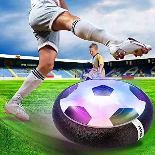 Sporgo Air Power Fußball Hover Ball,Fußball Spiel Spielzeug,Mit Weichen Schaumstoff-Stoßstangen Und Bunten LED-Lichtern KinderSpielzeug Fussball Geschenke Junge Mädchen (Schwarz)